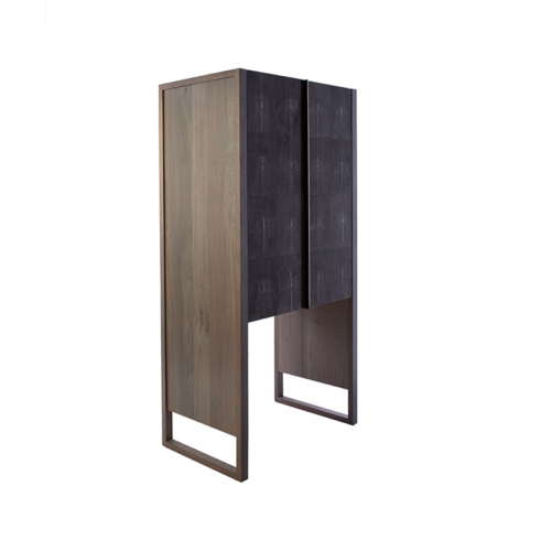 Phylo Hutch - Facet Furniture - Wood and shagreen credenza with 3 shelves